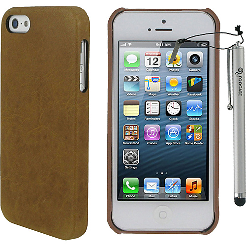 rooCASE Ultra Slim Leather Shell Case w/ Stylus for iPhone 5 Brown - rooCASE Personal Electronic Cases
