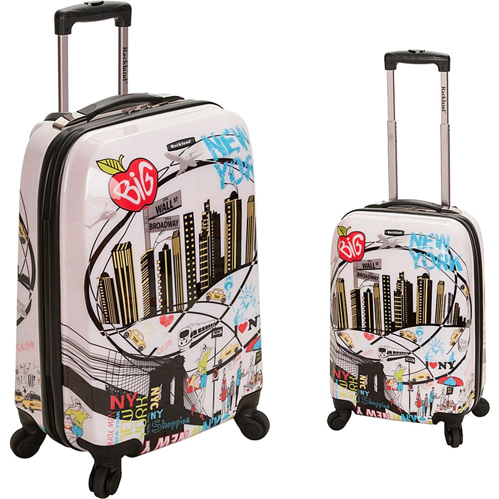 Rockland Luggage Traveler 2 Piece Hardside Luggage Set New York - Rockland Luggage Luggage Sets