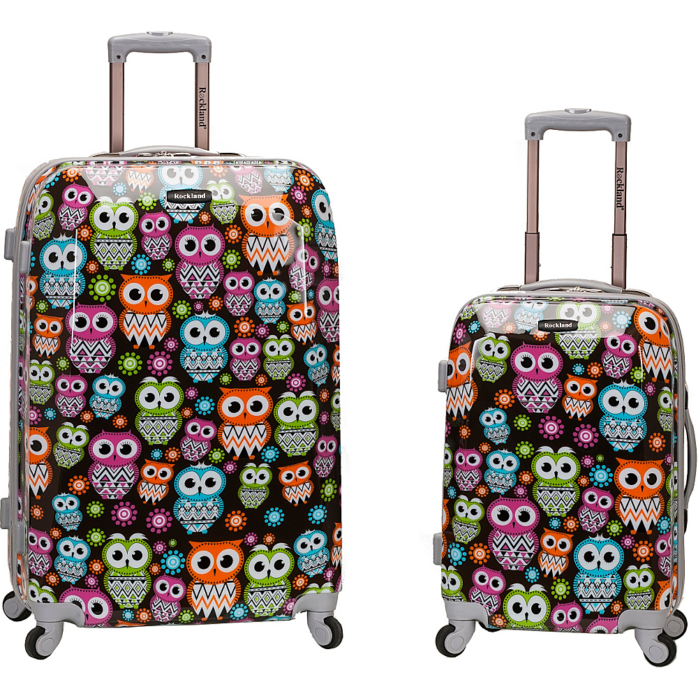 Rockland Luggage Traveler 2 Piece Hardside Luggage Set OWL Rockland Luggage Luggage Sets