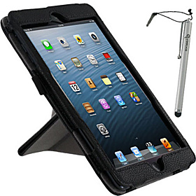 Origami Dual-View Vegan Leather Case w/ Stylus for iPad Mini Black