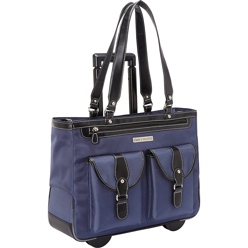 "Clark & Mayfield Marquam 18.4"" Rolling Laptop Tote Navy Blue - Clark & Mayfield Wheeled Business Cases"