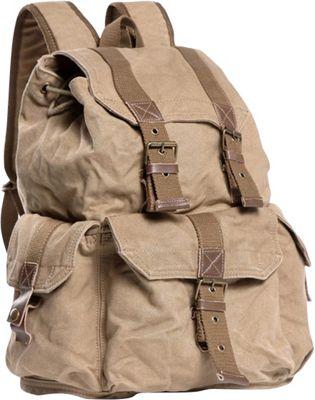 Vagabond Traveler Large Washed Canvas Backpack Khaki - Vagabond Traveler Everyday Backpacks