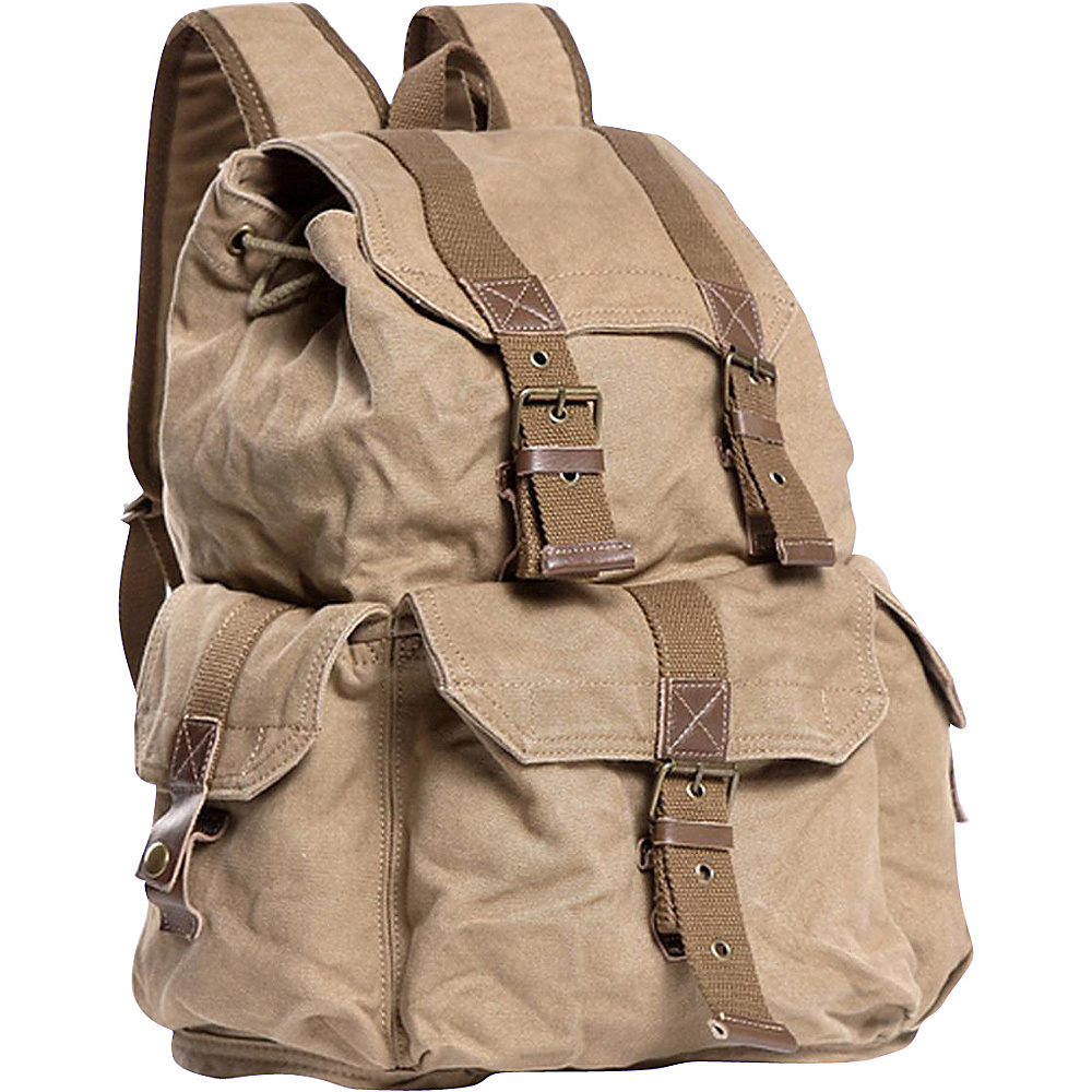 Vagabond Traveler Large Washed Canvas Backpack Khaki Vagabond Traveler Everyday Backpacks