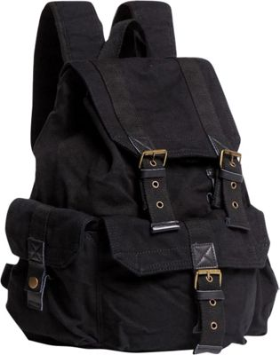 Vagabond Traveler Large Washed Canvas Backpack Black - Vagabond Traveler Everyday Backpacks