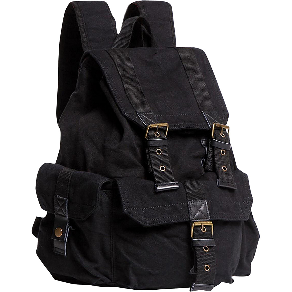 Vagabond Traveler Large Washed Canvas Backpack Black - Vagabond Traveler Everyday Backpacks - Backpacks, Everyday Backpacks