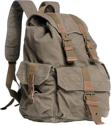 Vagabond Traveler Large Washed Canvas Backpack Military Green - Vagabond Traveler Everyday Backpacks