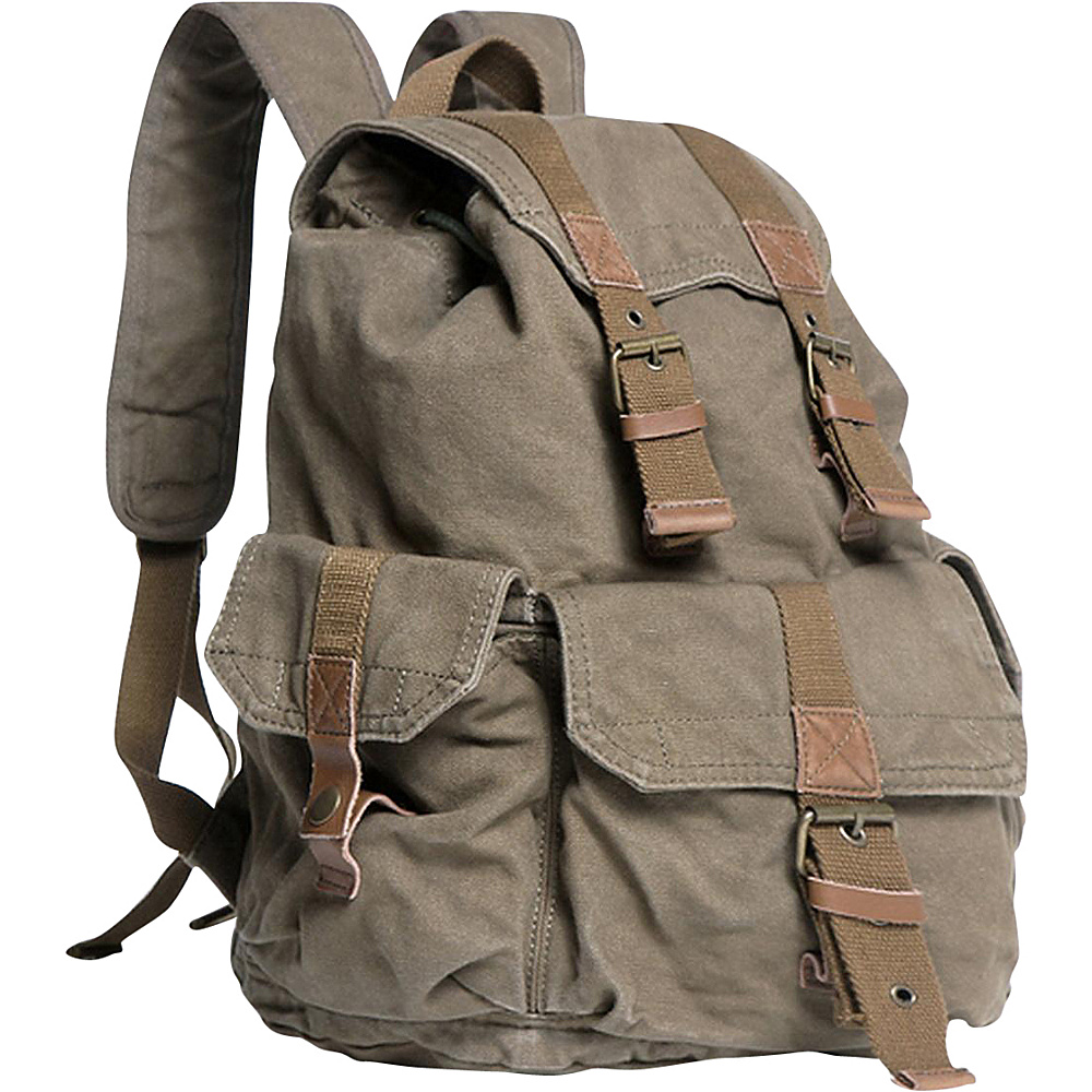 Vagabond Traveler Large Washed Canvas Backpack Military Green - Vagabond Traveler Everyday Backpacks - Backpacks, Everyday Backpacks