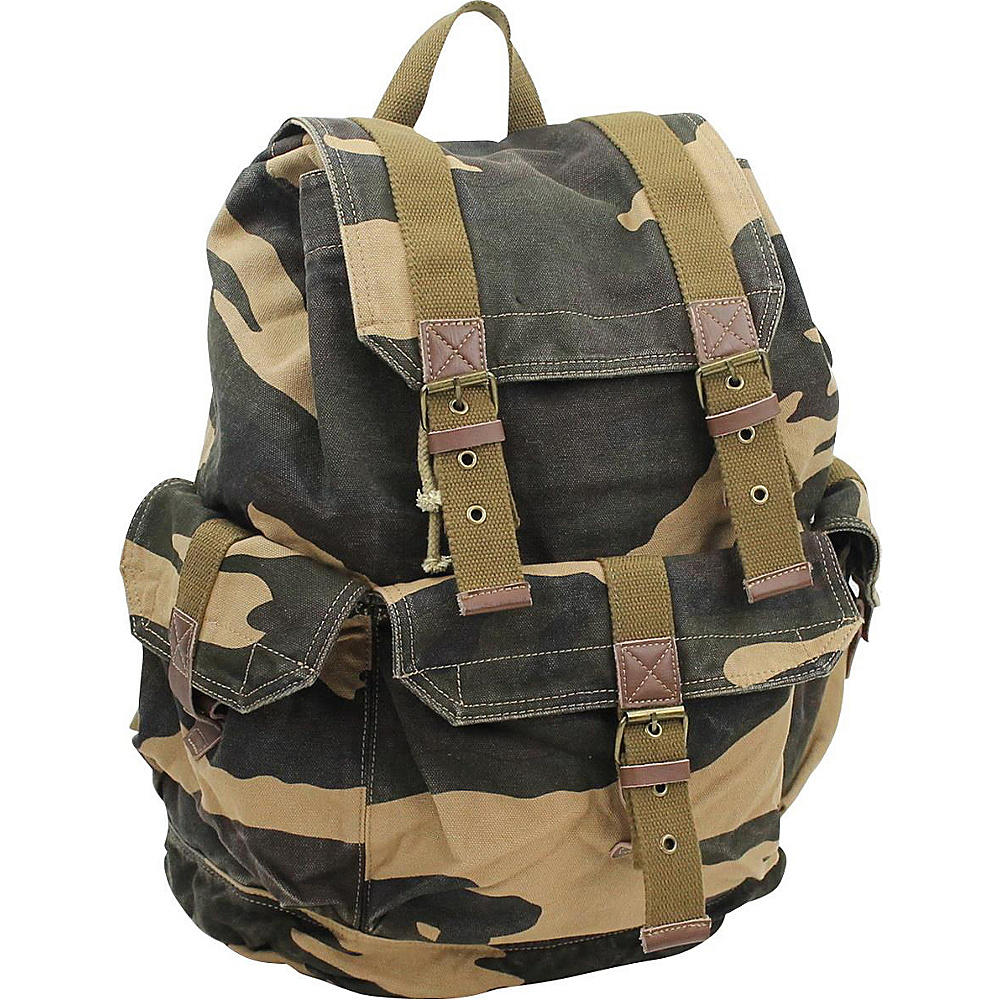 Vagabond Traveler Large Washed Canvas Backpack Camouflage - Vagabond Traveler Everyday Backpacks