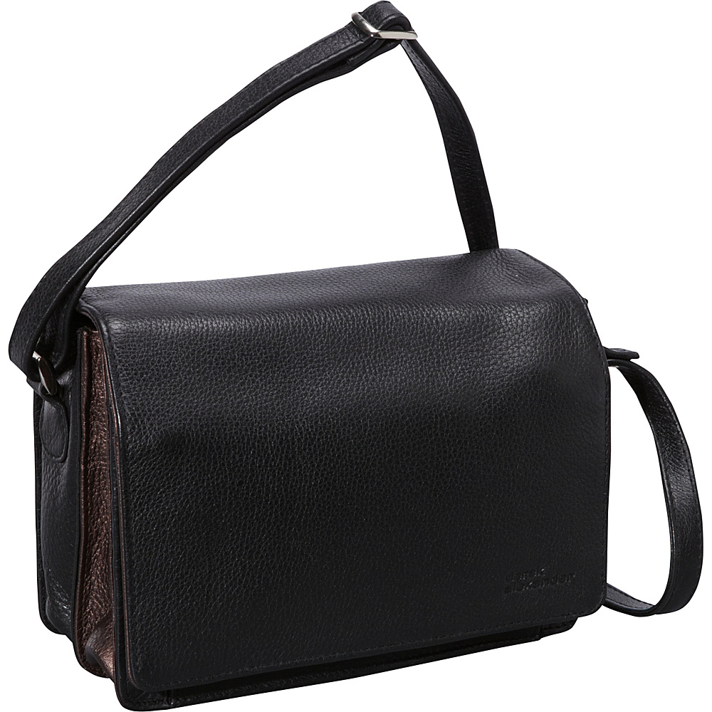 Derek Alexander Full Flap Multi Compartment Organizer Shoulder Bag Black/Bronze - Derek Alexander Leather Handbags