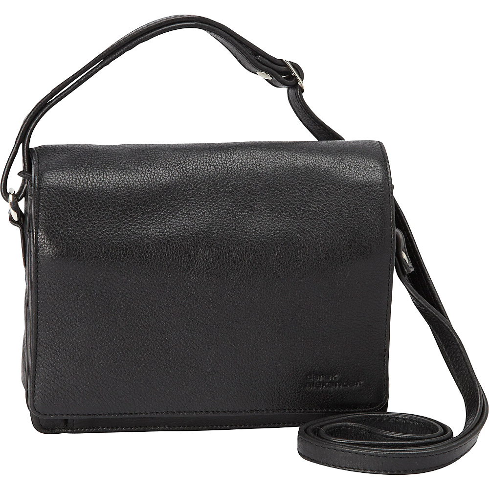 Derek Alexander Full Flap Multi Compartment Organizer Shoulder Bag Black - Derek Alexander Leather Handbags