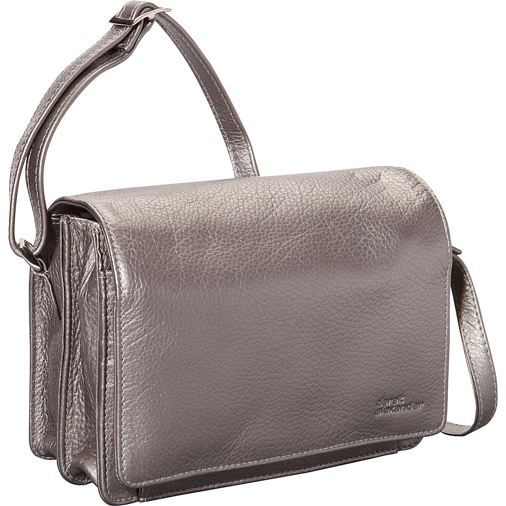 Derek Alexander Full Flap Multi Compartment Organizer Shoulder Bag Silver - Derek Alexander Leather Handbags
