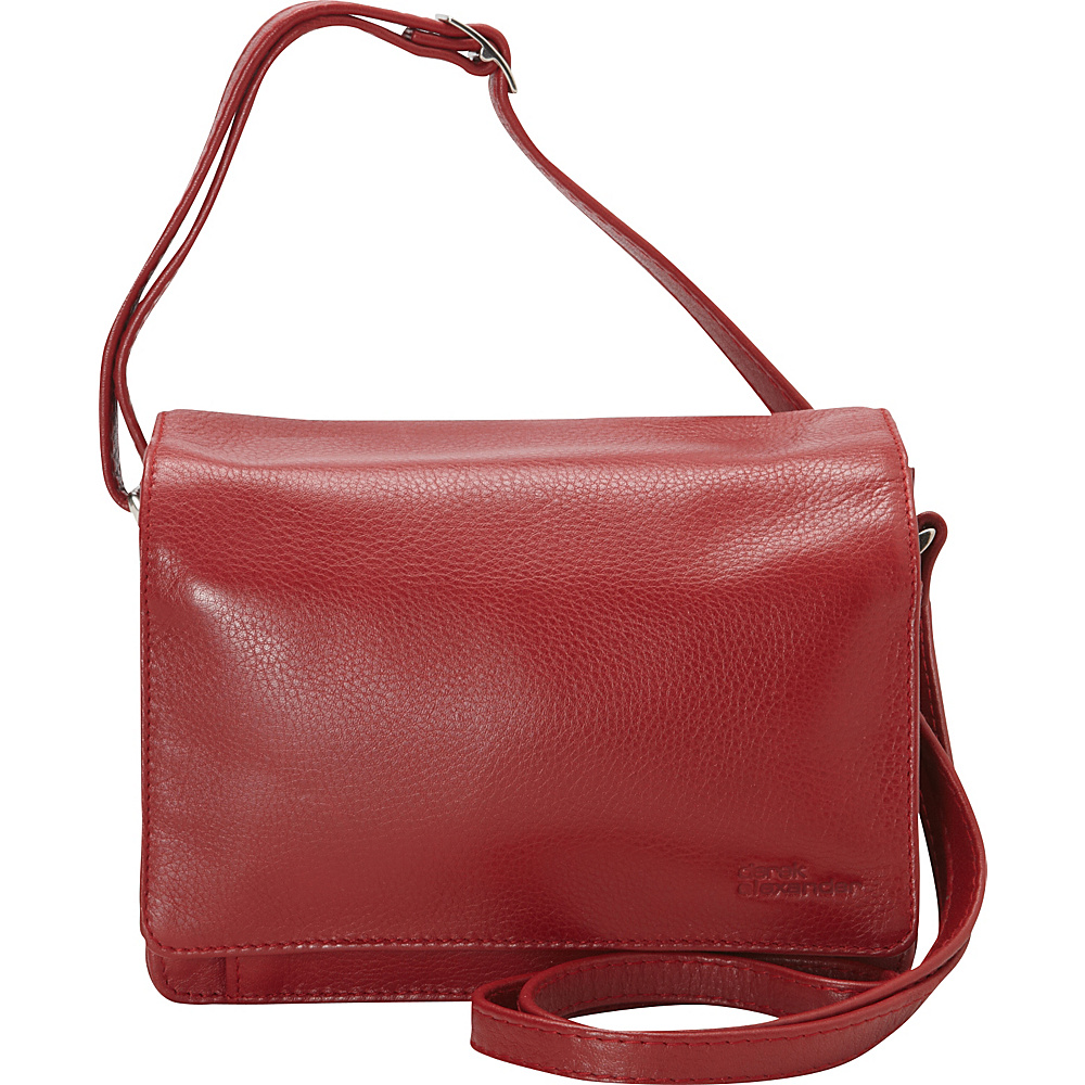 Derek Alexander Full Flap Multi Compartment Organizer Shoulder Bag Red - Derek Alexander Leather Handbags
