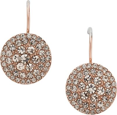 Fossil Glitz Disc Earring Rose Gold - Fossil Other Fashion Accessories