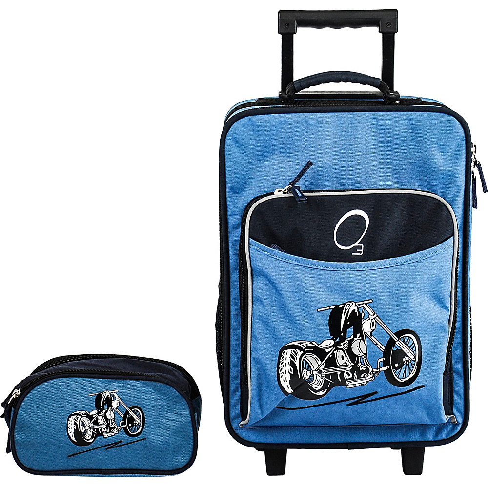 Obersee Kids Luggage and Toiletry Bag Set - Blue Motorcycle Blue Motorcycle - Obersee Luggage Sets