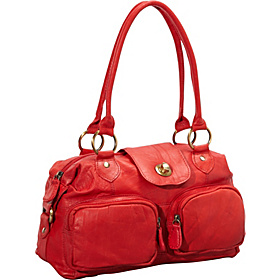 Double Front Zip Turnlock Leather Satchel RED