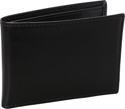 Budd Leather Nappa Soft Leather Slim Wallet w/ 6 Credit Card Slits Black - Budd Leather Men's Wallets
