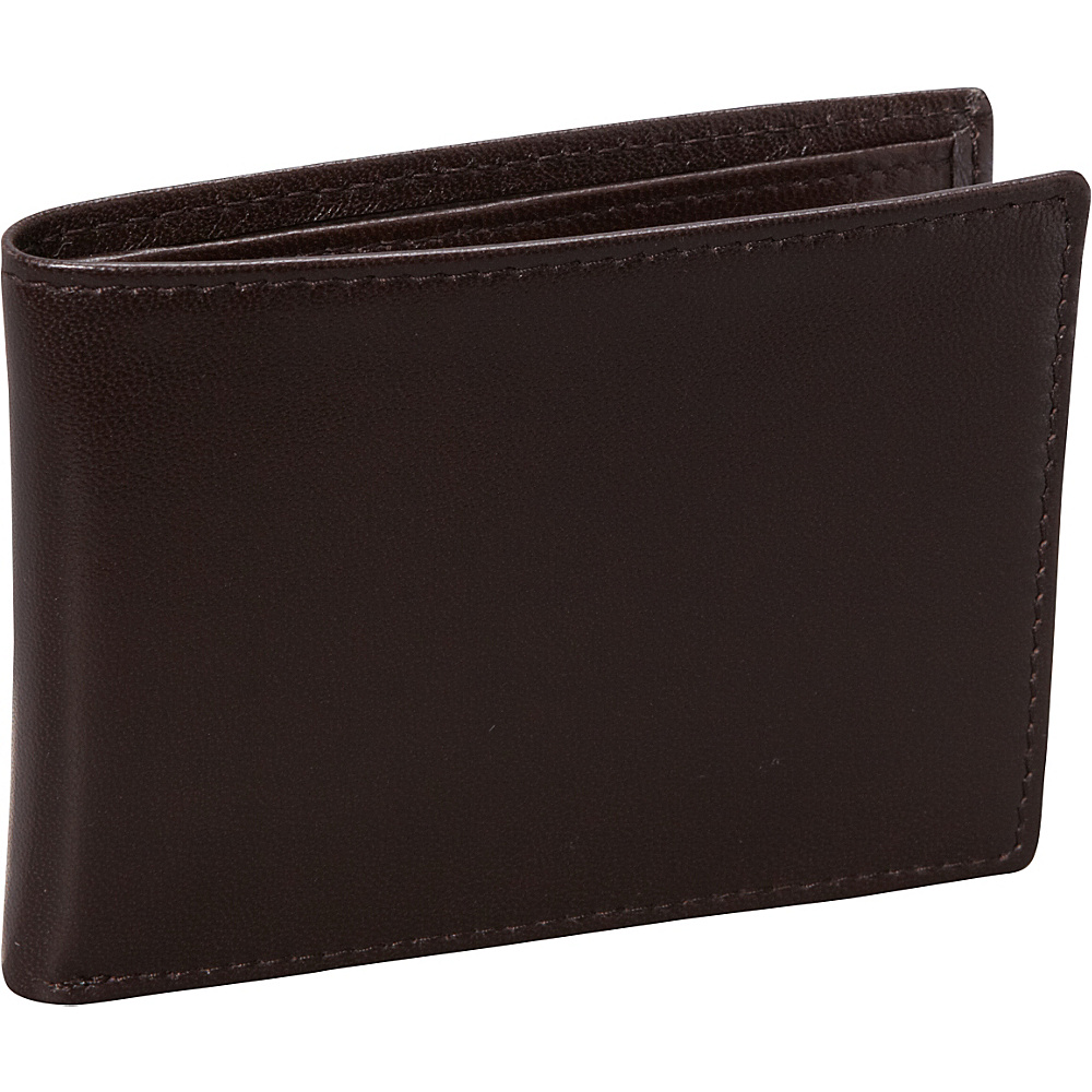 Budd Leather Nappa Soft Leather Slim Wallet w 6 Credit Card Slits Brown Budd Leather Men s Wallets