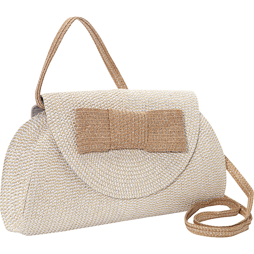 86d3e2b246 Magid Lurex Paper Straw Bow Clutch Crossbody Silver - Magid Straw Handbags