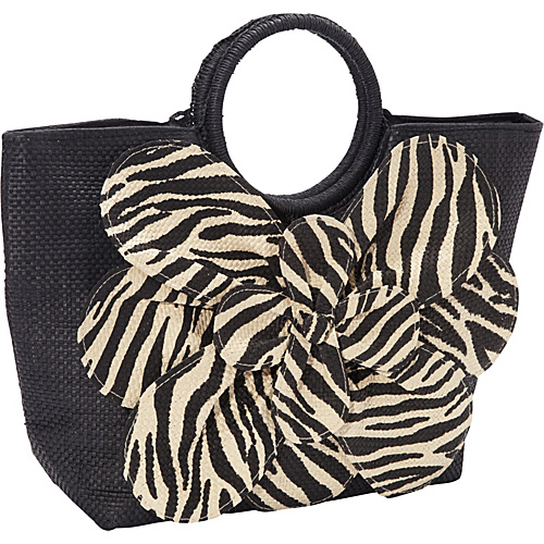 Magid Animal Print Paper Value Straw Bracelet Tote Black/Zebra - Magid Straw Handbags