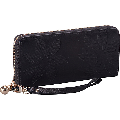 SW Global EMBOSS Exclusive Women's Genuine Leather Wallet Bi-fold in Kapok Pattern Design Black - SW Global Ladies Clutch Wallets