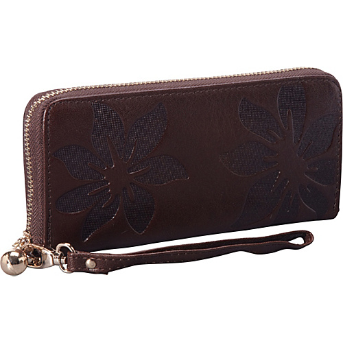 SW Global EMBOSS Exclusive Women's Genuine Leather Wallet Bi-fold in Kapok Pattern Design Coffee - SW Global Ladies Clutch Wallets
