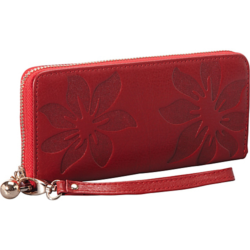SW Global EMBOSS Exclusive Women's Genuine Leather Wallet Bi-fold in Kapok Pattern Design Red - SW Global Ladies Clutch Wallets