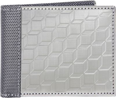 Stewart Stand 3D Box Texture Bill Fold Stainless Steel Wallet - RFID Silver/Grey Mesh - Stewart Stand Men's Wallets