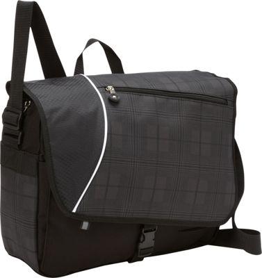 Bellino Matrix Plaid Laptop Messenger Black - Bellino Messenger Bags
