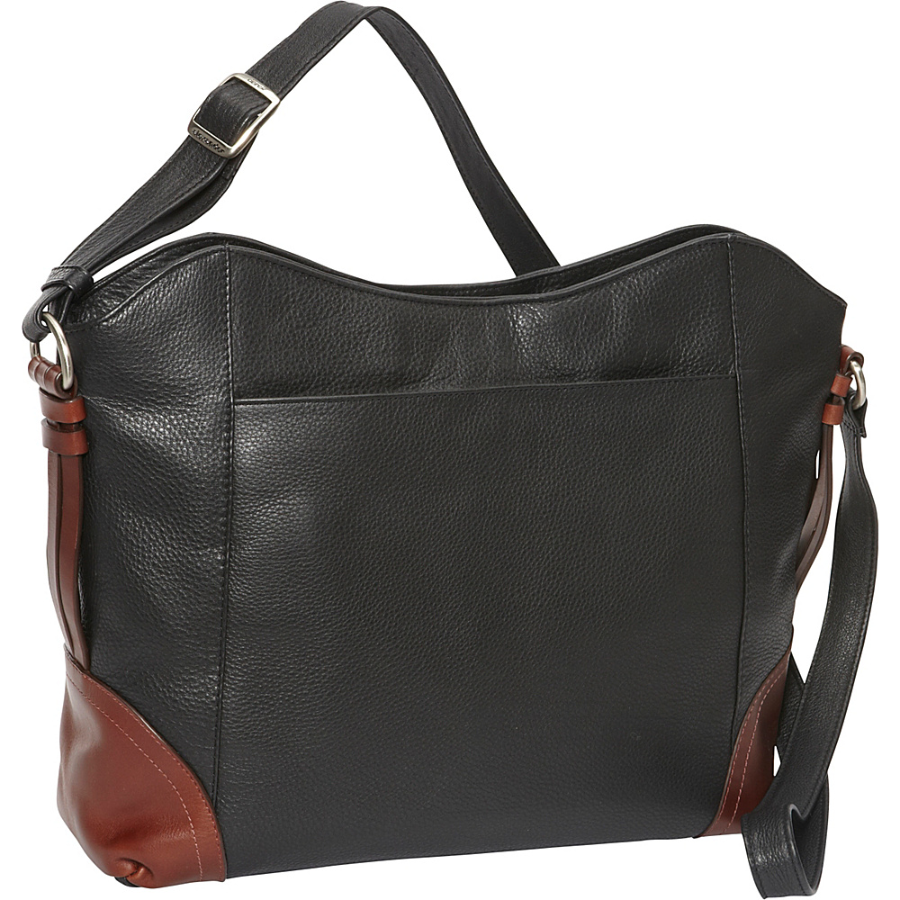 Derek Alexander EW Top Zip Shoulder Bag Black/Brandy - Derek Alexander Leather Handbags - Handbags, Leather Handbags