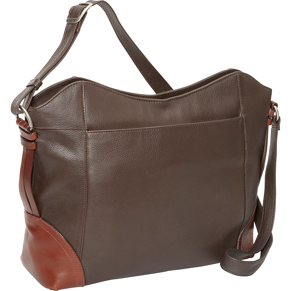 Derek Alexander EW Top Zip Shoulder Bag Brown/Brandy - Derek Alexander Leather Handbags - Handbags, Leather Handbags