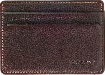 Boconi Tyler Tumbled Weekender ID Card Case Coffee w/ terra cotta - Boconi Men's Wallets