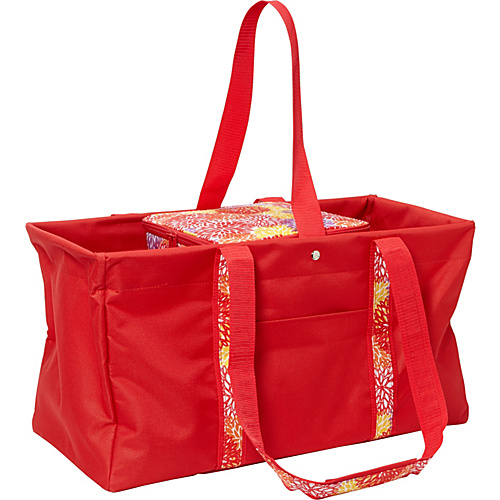 Sachi Insulated Lunch Bags Style 194 Utility Tote with Insulated Cooler Red Solid with Red Yellow Mums - Sachi Insulated Lunch Bags Travel Coolers