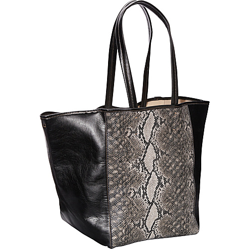 Clava Page Python Print and Leather Tote Black Python Print - Clava Leather Handbags