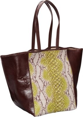 Clava Page Python Print and Leather Tote Green Python Print - Clava Leather Handbags
