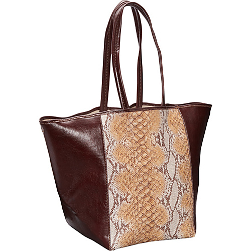 Clava Page Python Print and Leather Tote Orange - Clava Leather Handbags