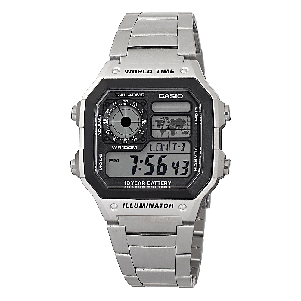 Casio Men's Digital Watch Silvertone - Casio Watches