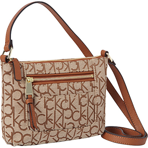 Calvin Klein Hudson Jacquared Crossbody Brown/Khaki/Luggage Saffiano - Calvin Klein Fabric Handbags