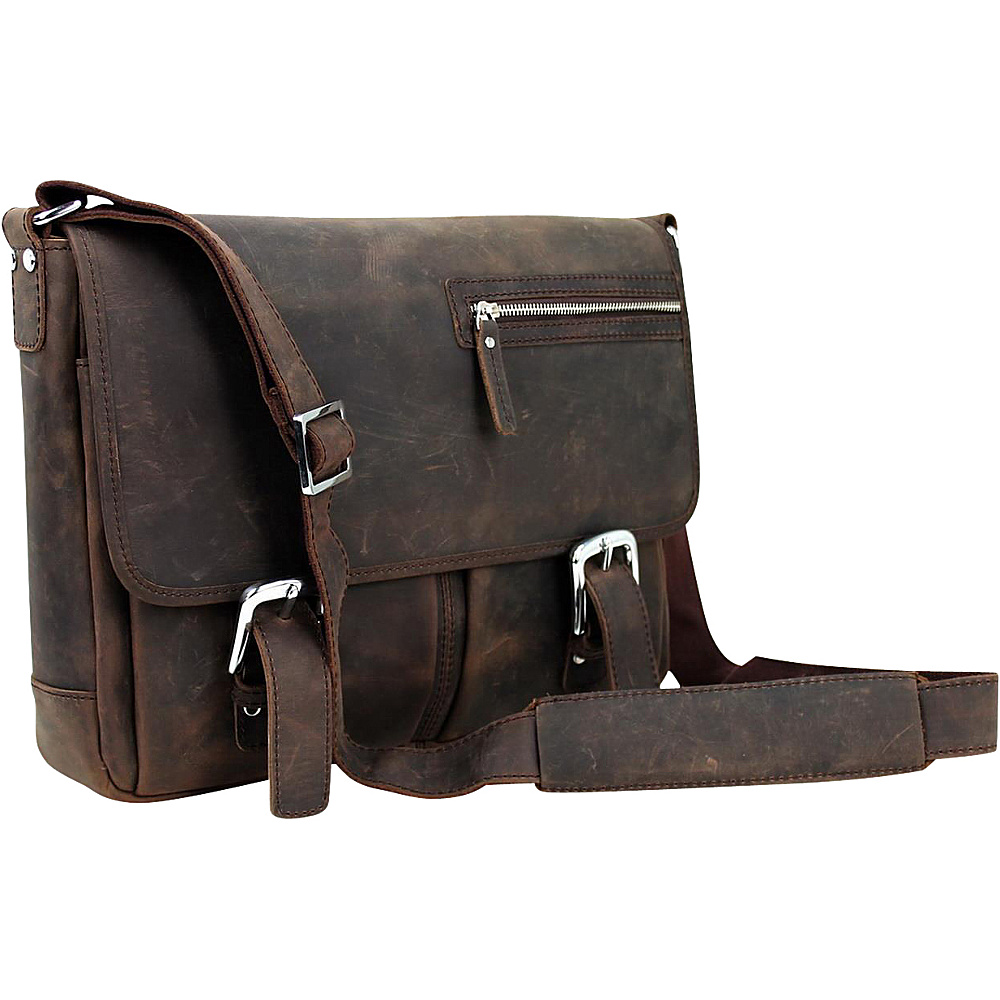 Vagabond Traveler 15 Cowhide Leather Casual Messenger Bag Dark Brown - Vagabond Traveler Messenger Bags - Work Bags & Briefcases, Messenger Bags