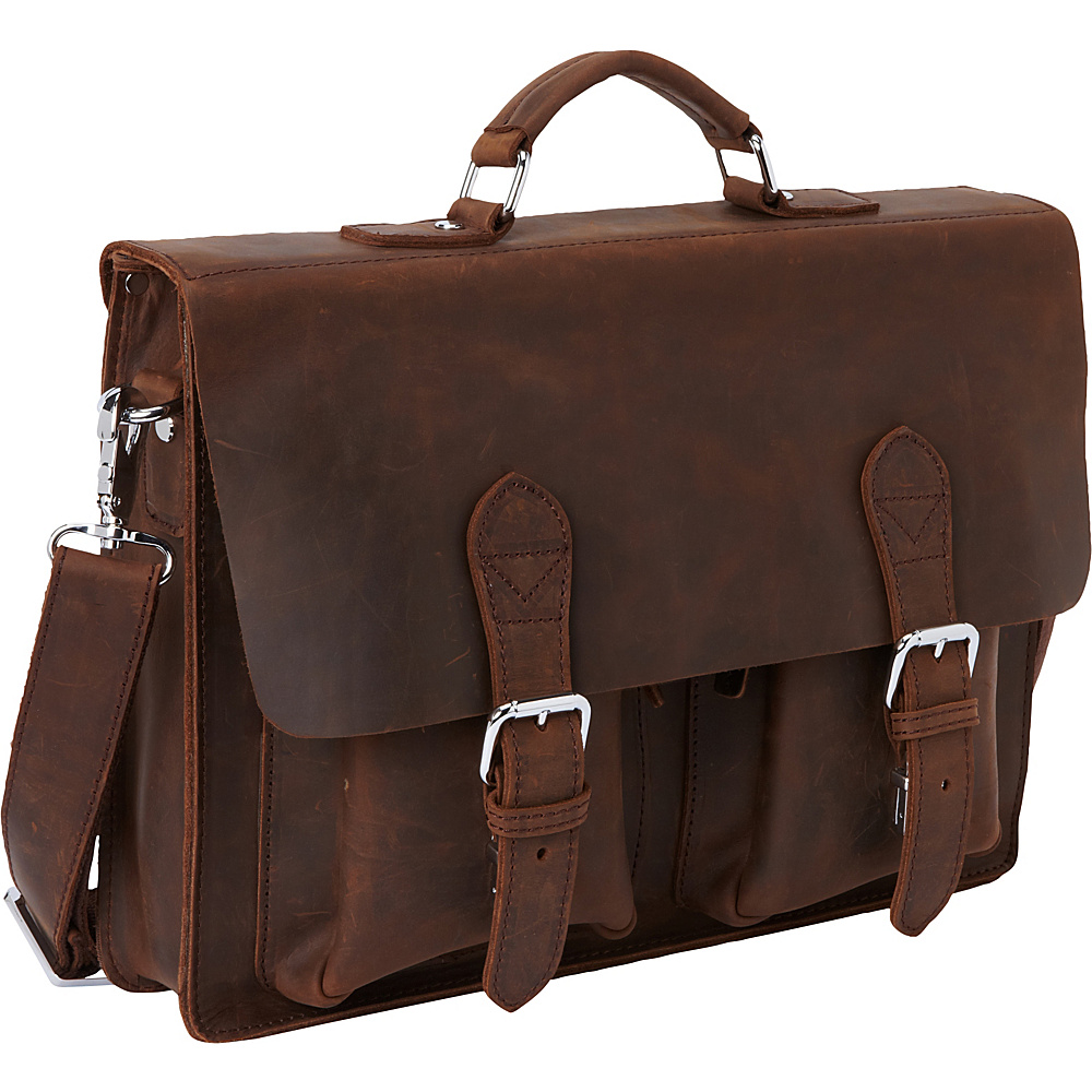 Vagabond Traveler 15 Leather Laptop Bag Dark Brown - Vagabond Traveler Non-Wheeled Business Cases - Work Bags & Briefcases, Non-Wheeled Business Cases