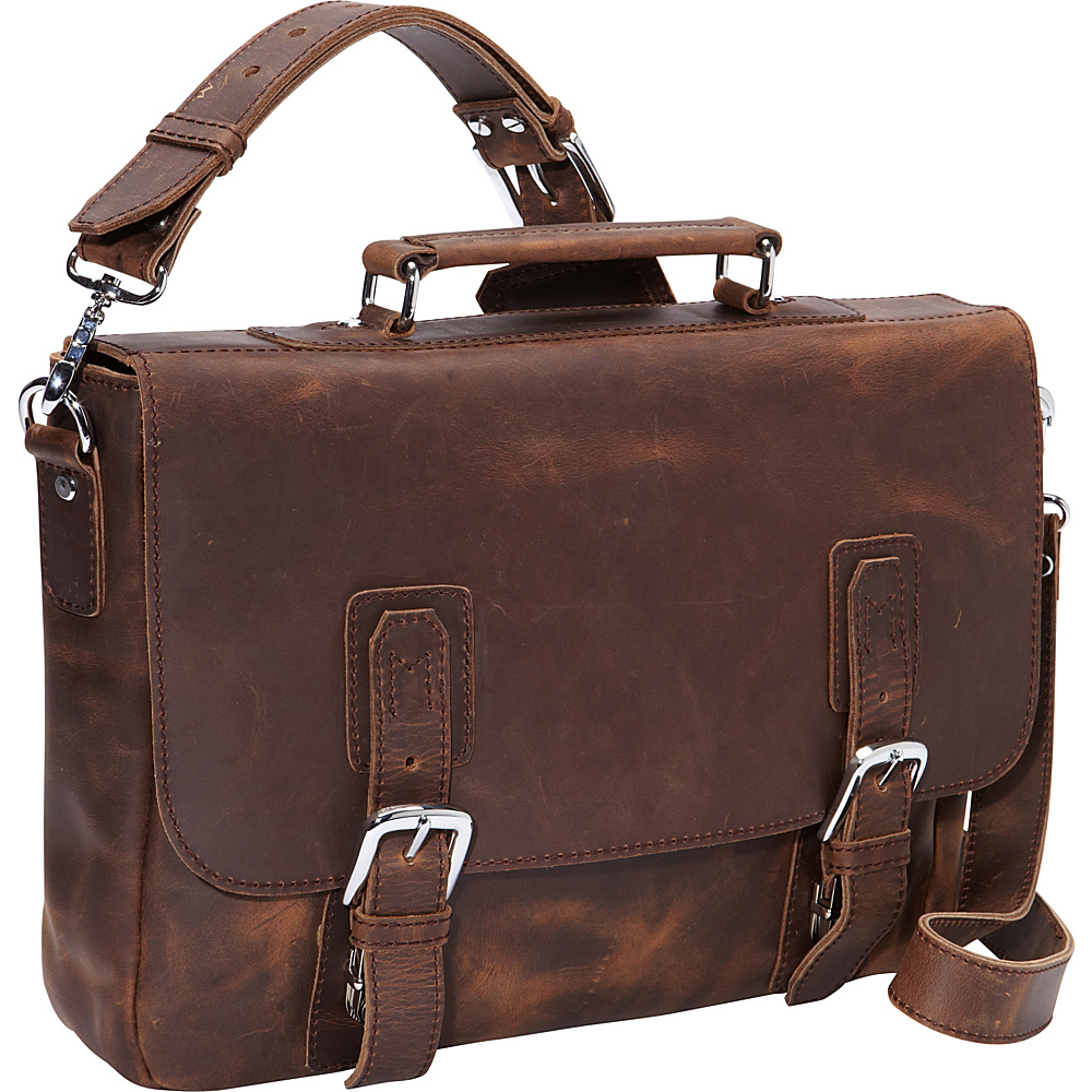 Vagabond Traveler 16 Leather Messenger Bag Dark Brown - Vagabond Traveler Messenger Bags - Work Bags & Briefcases, Messenger Bags