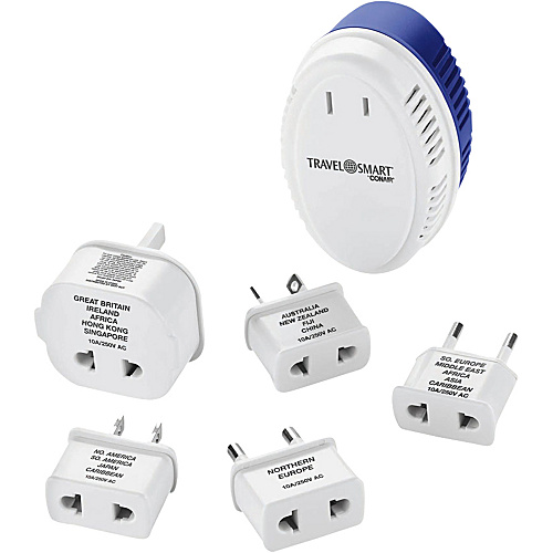 Travel Smart by Conair 1875-Watt Converter with International Adapter Plugs White/Blue - Travel Smart by Conair Travel Electronics