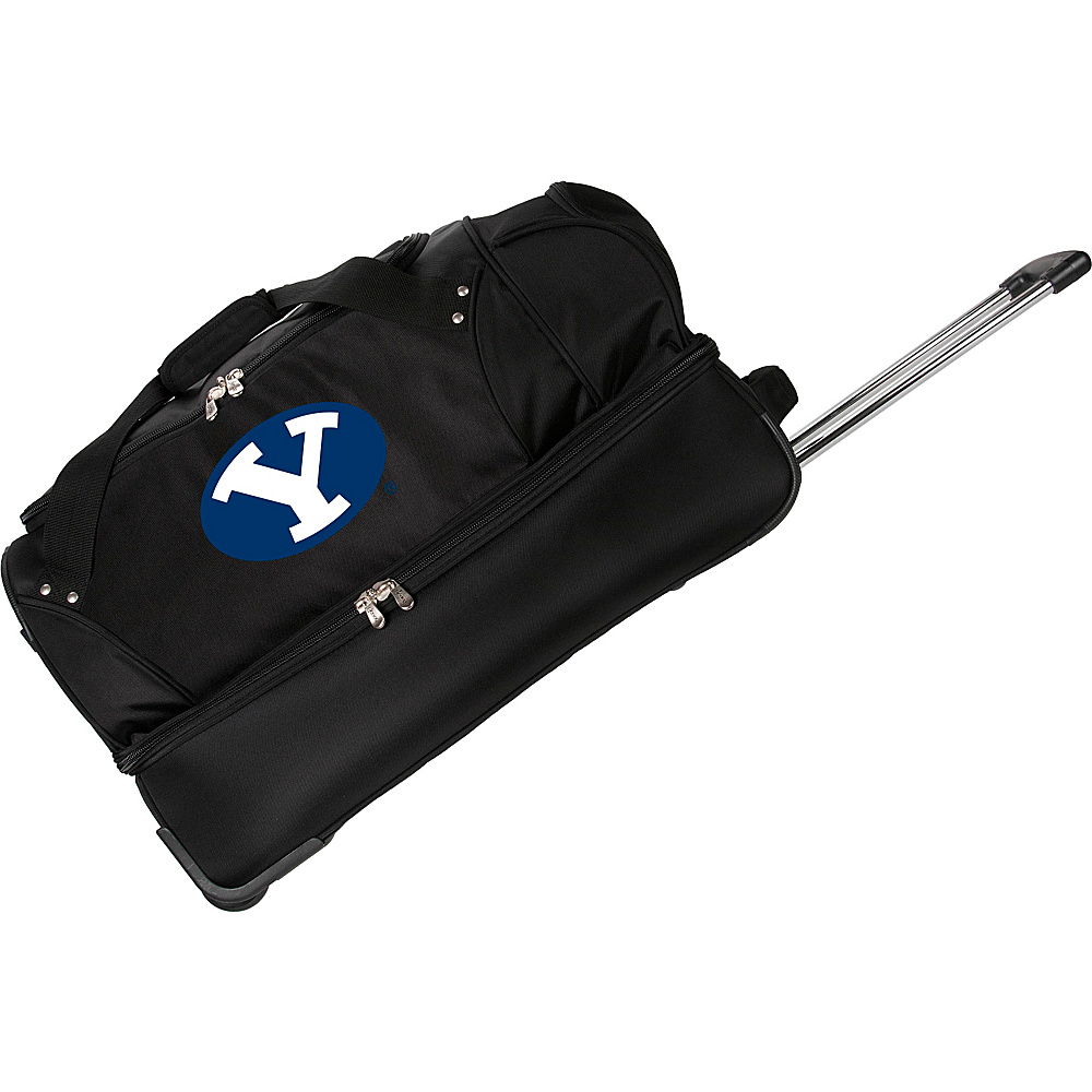 Denco Sports Luggage NCAA Brigham Young University Cougars 27 Drop Bottom Wheeled Duffel Bag Black - Denco Sports Luggage Travel Duffels - Luggage, Travel Duffels