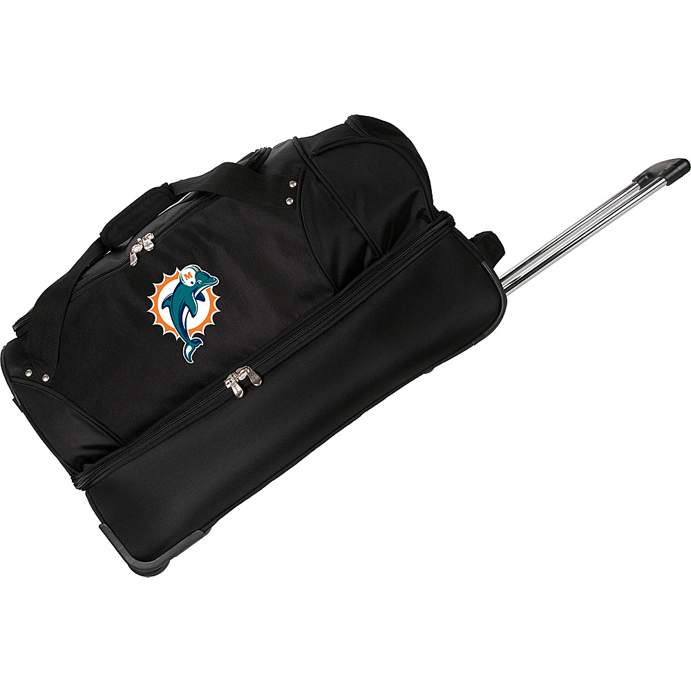 "Denco Sports Luggage NFL 27"" Drop Bottom Wheeled Duffel Bag Miami Dolphins - Denco Sports Luggage Rolling Duffels"