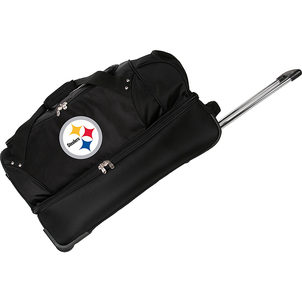 Denco Sports Luggage NFL 27 Drop Bottom Wheeled Duffel Bag Pittsburgh Steelers - Denco Sports Luggage Rolling Duffels - Luggage, Rolling Duffels