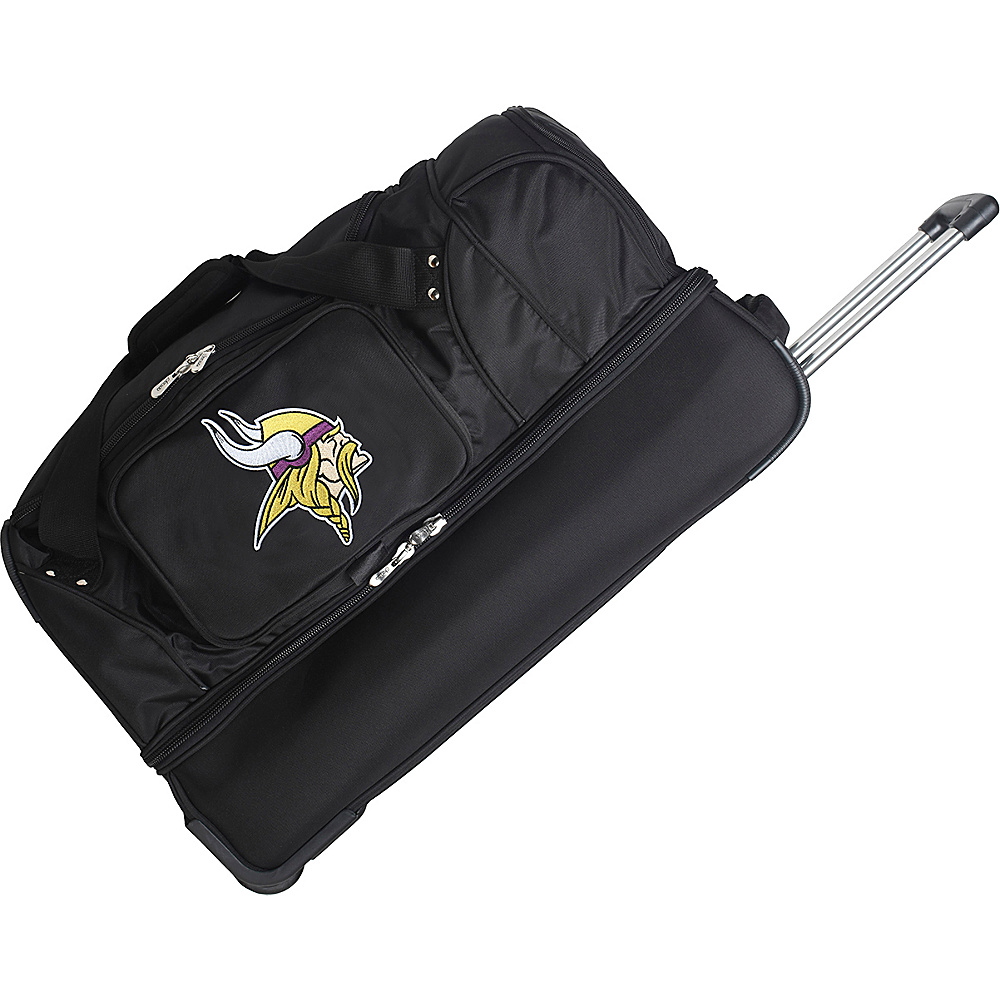 "Denco Sports Luggage NFL 27"" Drop Bottom Wheeled Duffel Bag Minnesota Vikings - Denco Sports Luggage Rolling Duffels"
