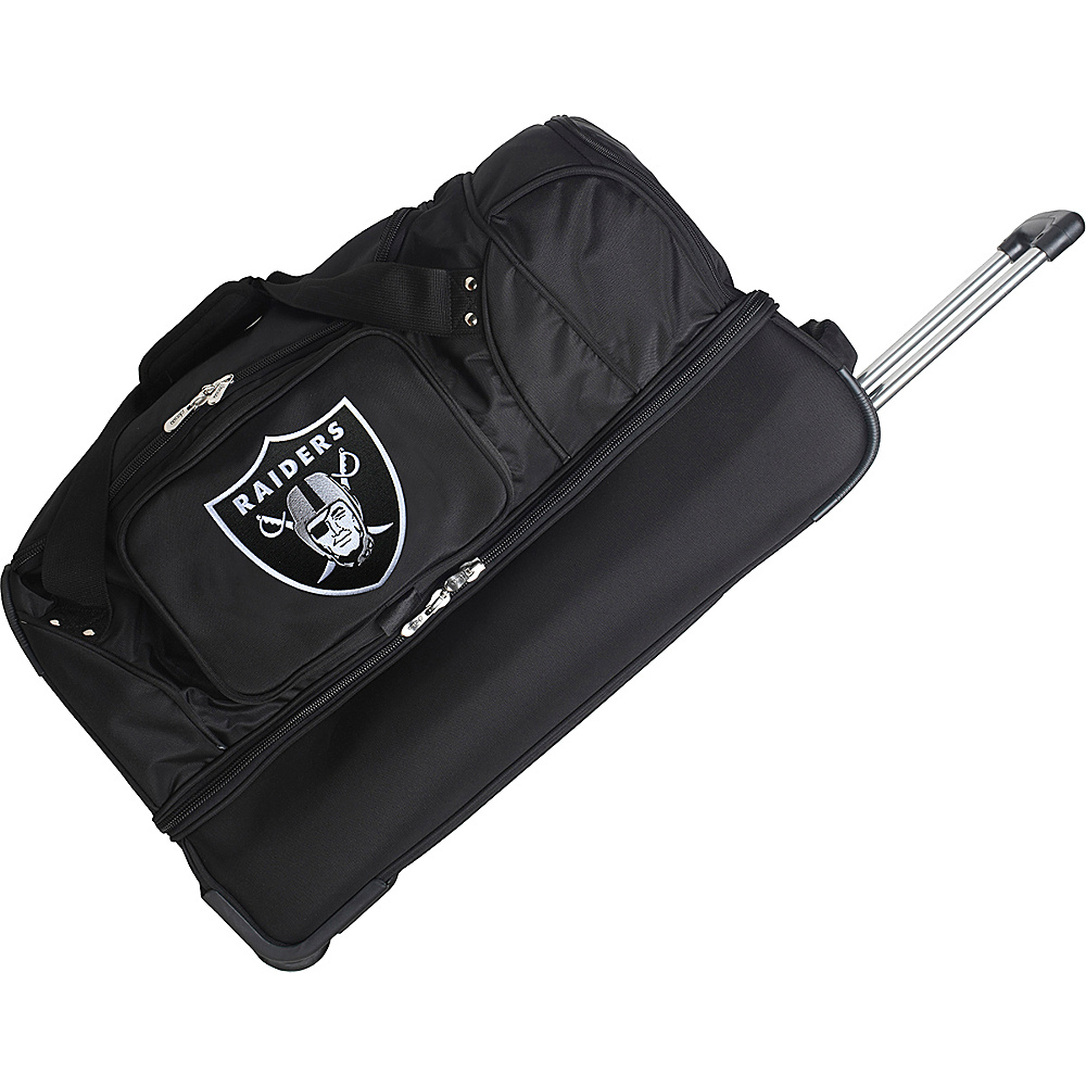 "Denco Sports Luggage NFL 27"" Drop Bottom Wheeled Duffel Bag Oakland Raiders - Denco Sports Luggage Rolling Duffels"
