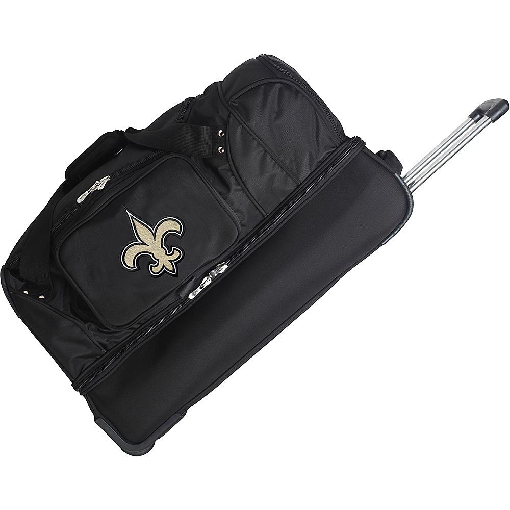 Denco Sports Luggage NFL 27 Drop Bottom Wheeled Duffel Bag New Orleans Saints - Denco Sports Luggage Rolling Duffels - Luggage, Rolling Duffels