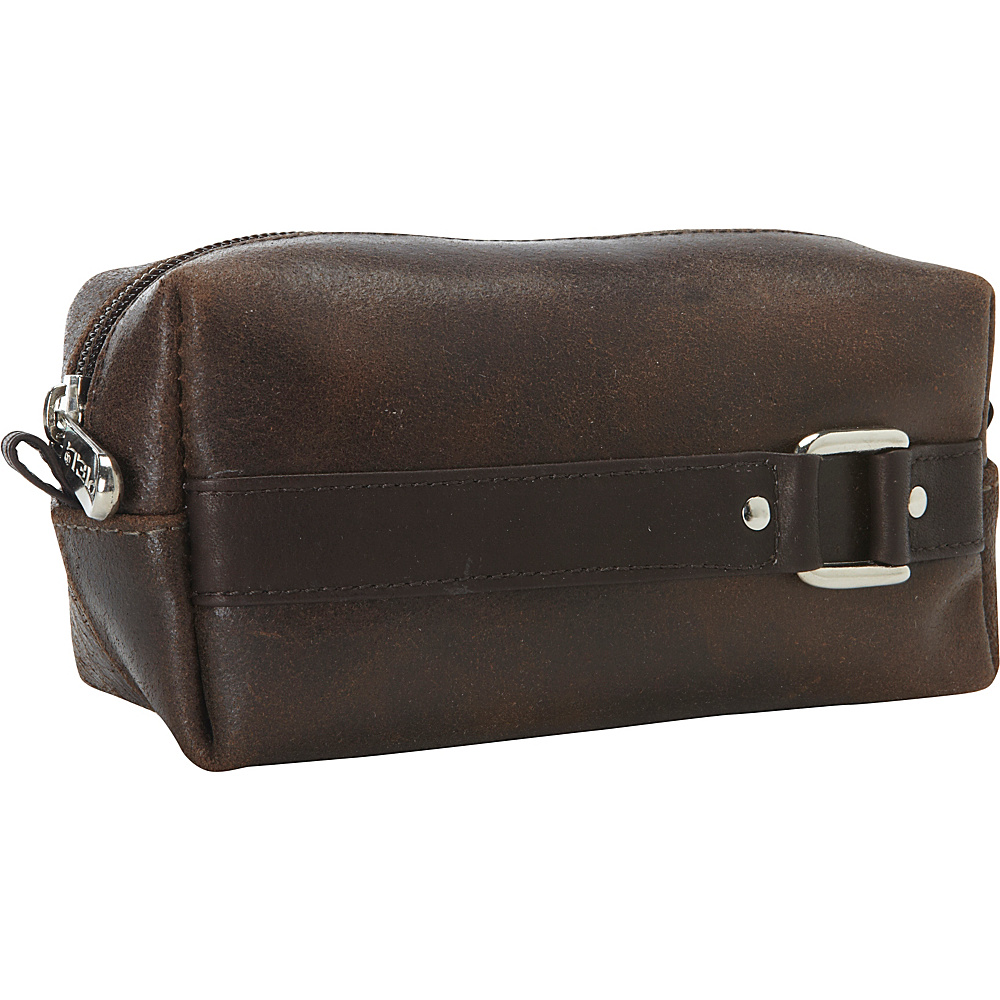 Piel Vintage Leather Mini Travel Case Vintage Brown - Piel Toiletry Kits - Travel Accessories, Toiletry Kits
