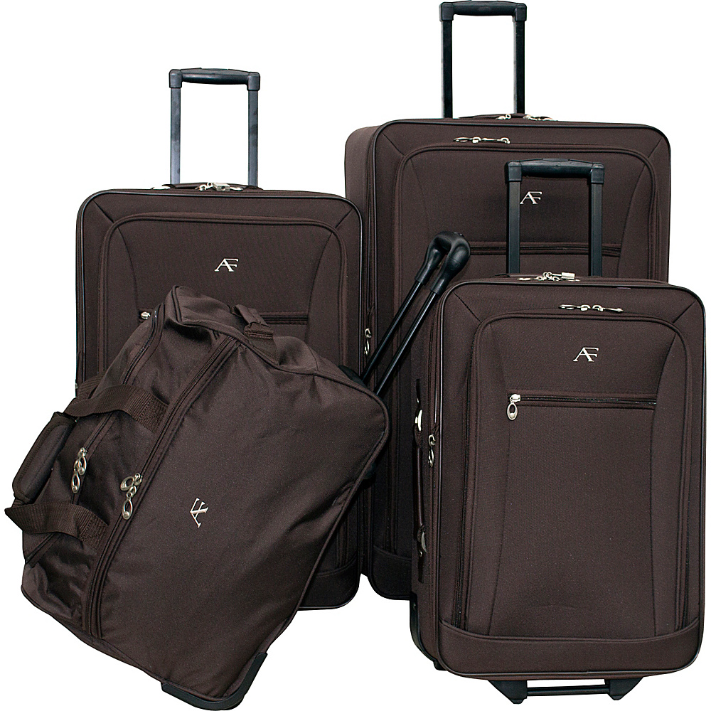 American Flyer Brooklyn Collection 4-Pcs Set Brown - American Flyer Luggage Sets