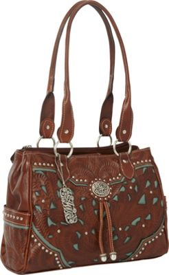 American West Lady Lace Multi-Compartment Organizer Tote Antique Brown w/ turq accents - American West Leather Handbags